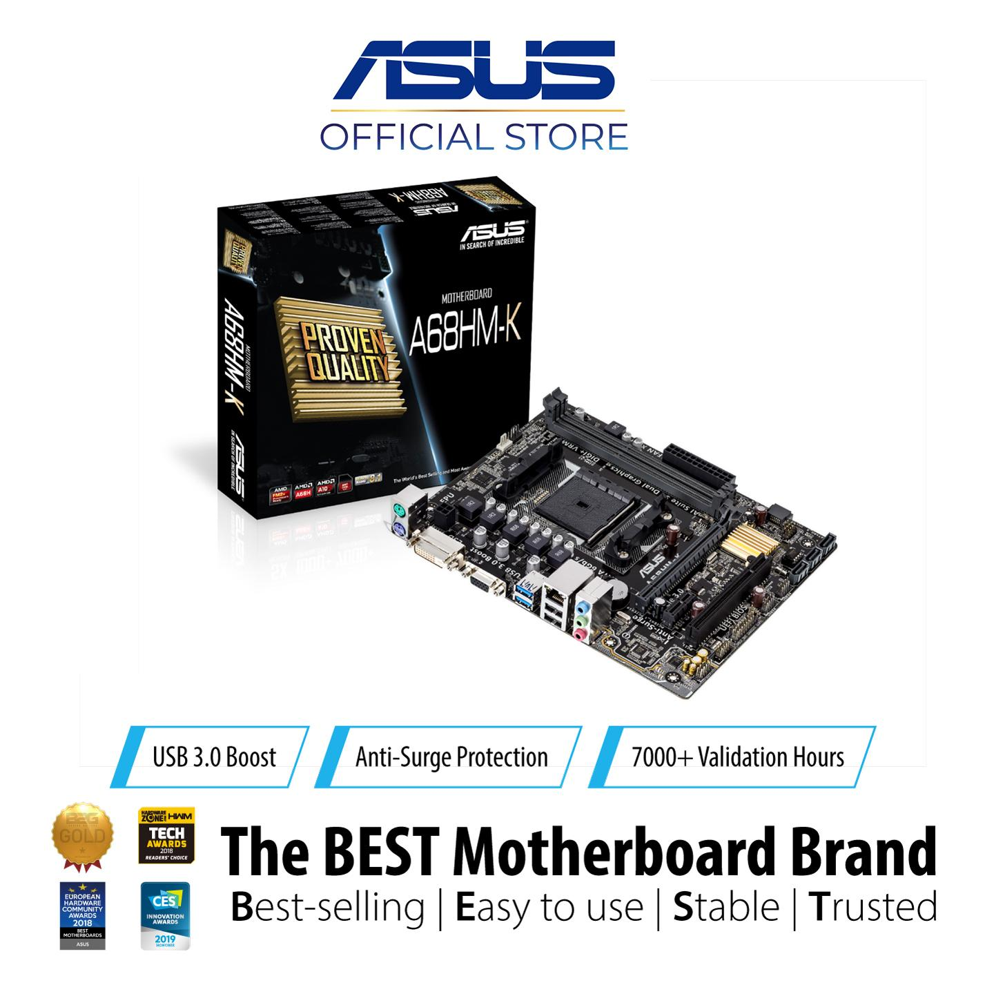 ASUS A68HM-K FM2+ Socketed motherboard with proven quality, high-clarity  audio and the new UEFI BIOS on the A68H Chipset
