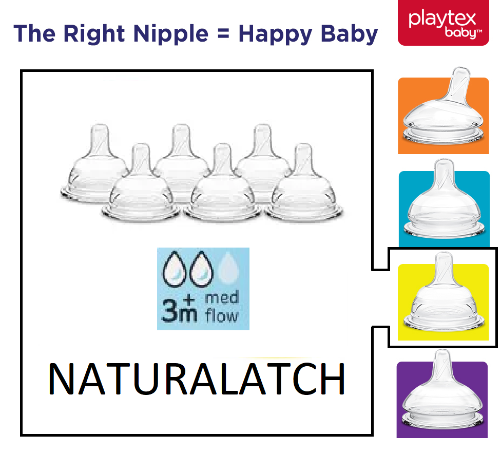 Medium Flow Playtex Baby NaturaLatch Nipples 6 Count