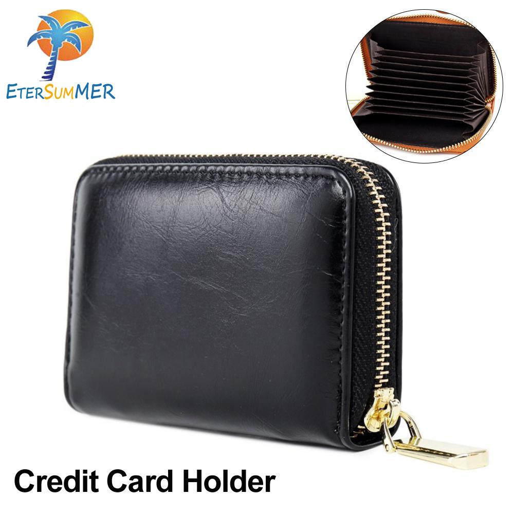 2d57bd2d0b5 EterSummer Credit Card Holders Small Wallet Pocket Wax Leather Zipper Purse  Card Case with 11 Slots
