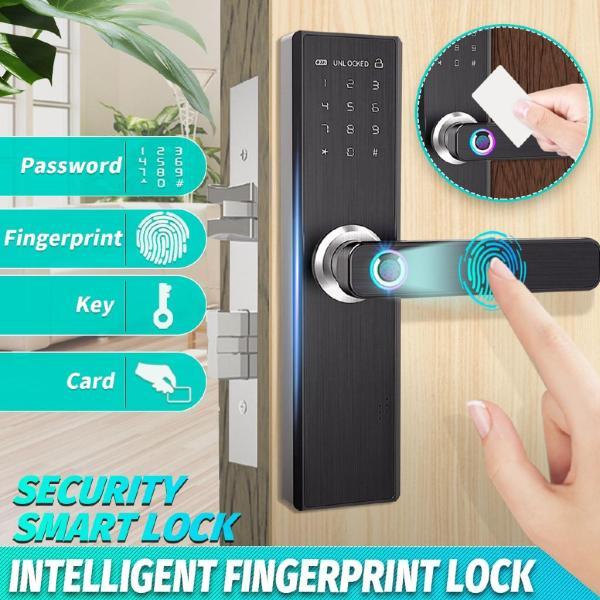 Smart Fingerprint Doorlock Card Digital Code Security Electronic Door Lock 【APP Touch Password Keypad Card Fingerprint】