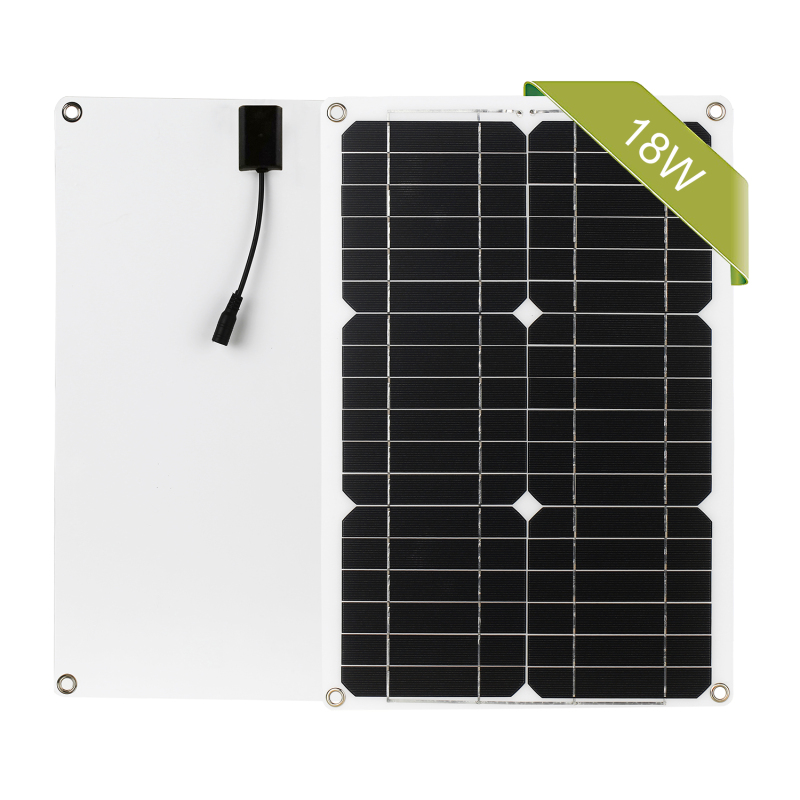 18W 12V Solar Panel Kit Dual USB Port Off Grid Monocrystalline Module with Solar Charge Controller SAE Connection Cable Kits