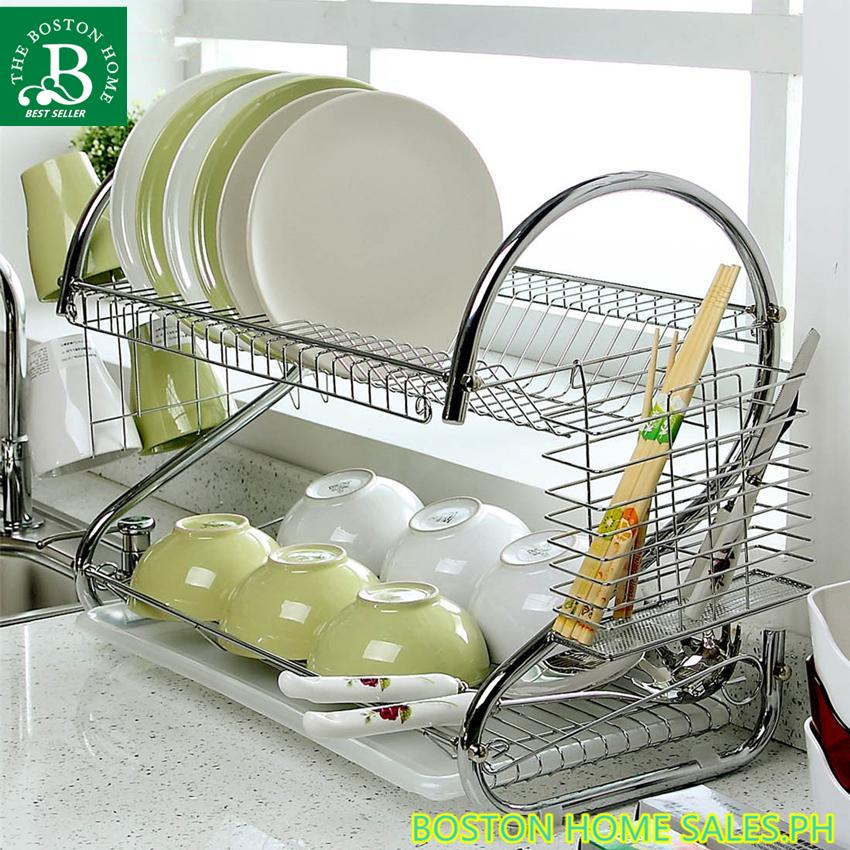 55ea6e2fb678 Bostom Home 2 layer Stainless steel #304 drain bowl Sink Dish Drainer  Drying Rack Basket Organizer Tray