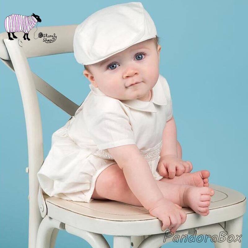 83bb321a8 Infant Baby Boy Baptism White Outfit Birthday Photography Prop Christening  Hat+Romper Set Clothes for