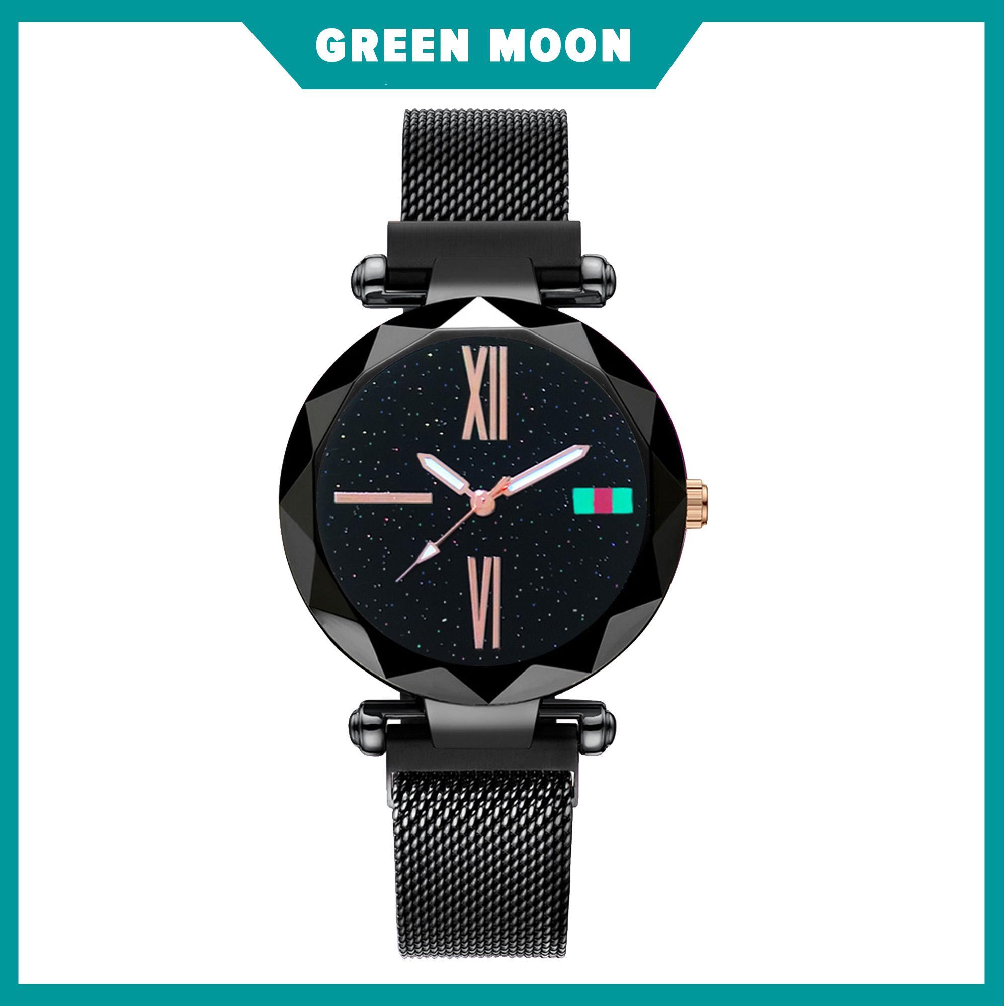 b8a8f0eea GREEN MOON Women Starry Watch Magnetic Buckle Stainless Steel Watch #Guccci