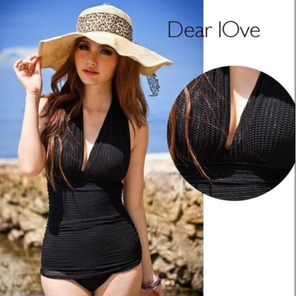 587da9ac449 Black One Piece Swimsuit Deep V Monokini One Piece Korean Swimwear Padded  Swimsuit Women Swimwear Bathing Suit Onepiece Swimsuit Beach Wear Tankini