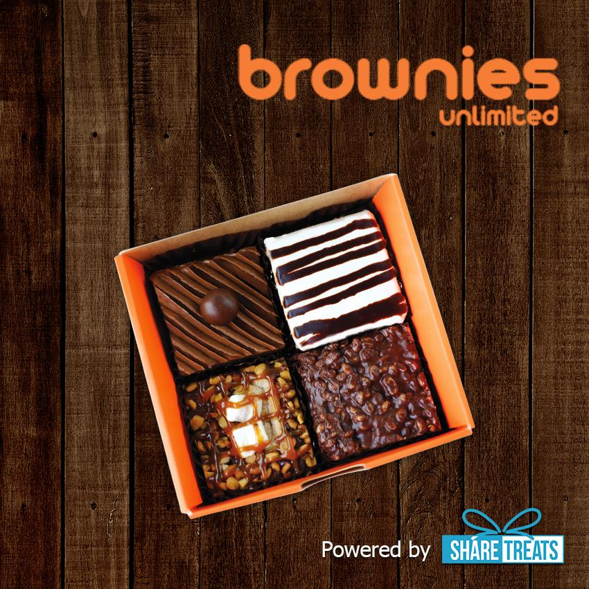 Brownies Unlimited Box Of 4(pre-Assorted) Sms Evoucher By Share Treats.