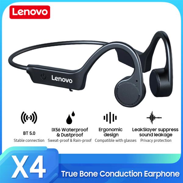 Lenovo X4 True Bone Conduction Tai nghe Tai nghe không dây BT5.0 IP56 Chống thấm nước / Bảo vệ quyền riêng tư bằng âm thanh / Tai nghe thể thao uốn cong 360 ° Hàng mới về