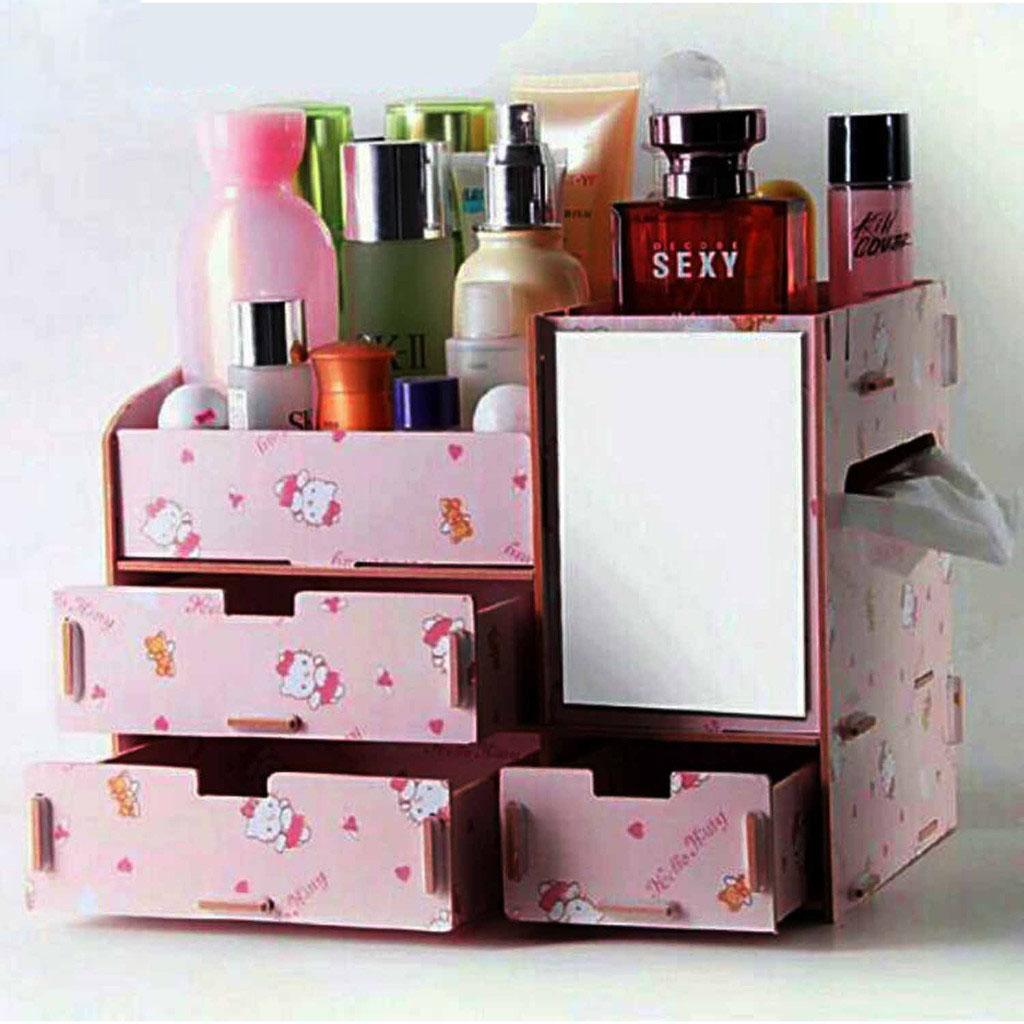 DIY Wooden Makeup make up Organizer with Mirror (H-Kitty Blush Pink) Philippines