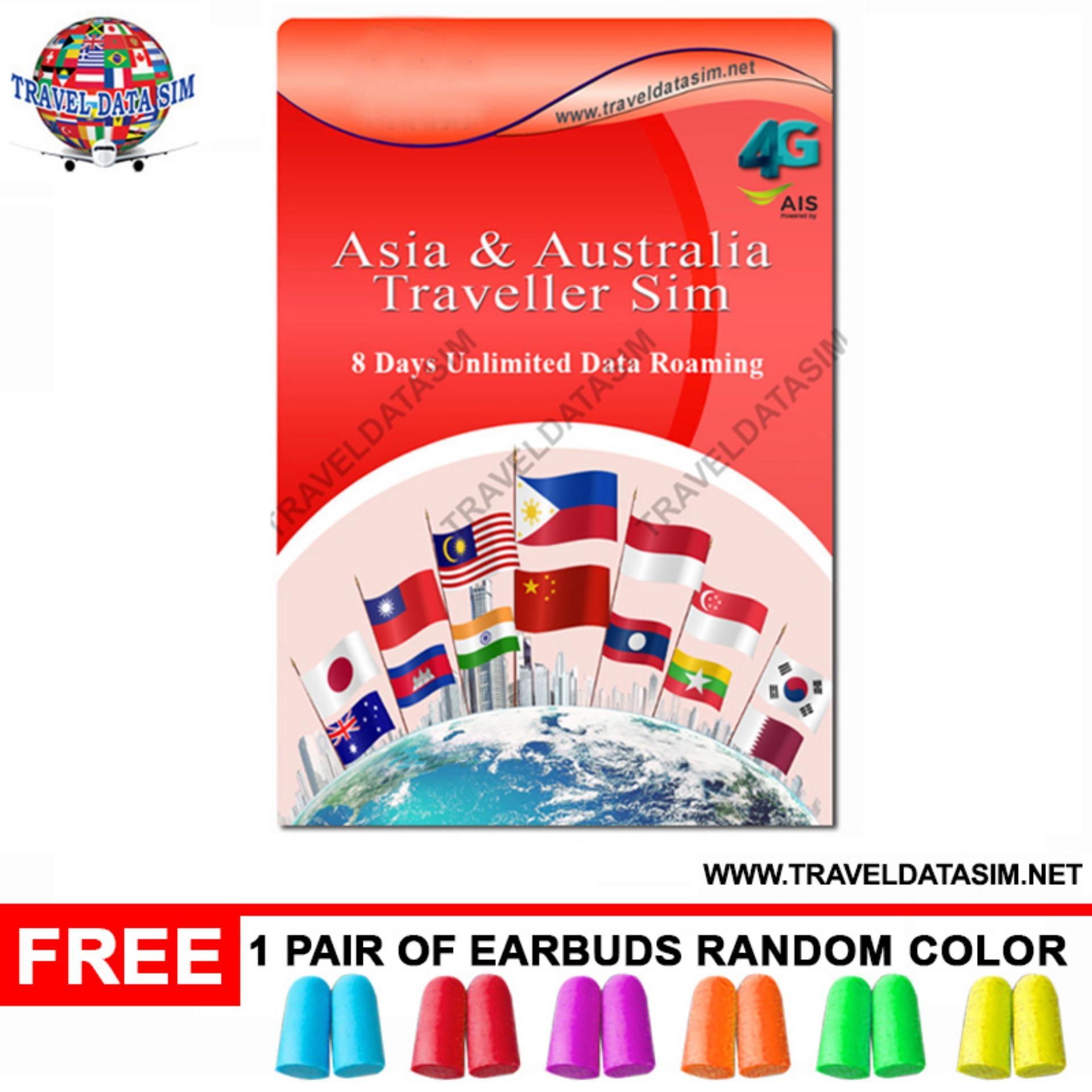 TDSIM Asia & Australia TRAVEL DATA SIM 8 Days Unlimited DATA Sim Card 20  Countries Roaming Sim for Japan S Korea Singapore Malaysia HK Laos India