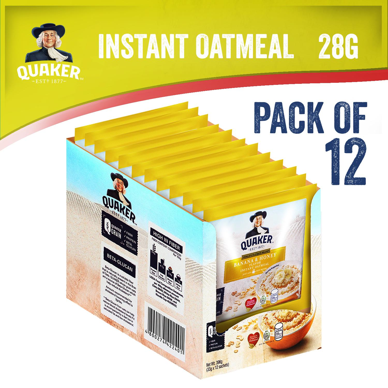 Quaker Instant Oatmeal Banana & Honey Flavor Pack Of 12 (33g) By Quaker.