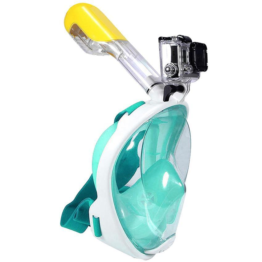 Full Face Snorkeling Mask For Gopro & Action Cameras L/xl (green) By Hot Lips.