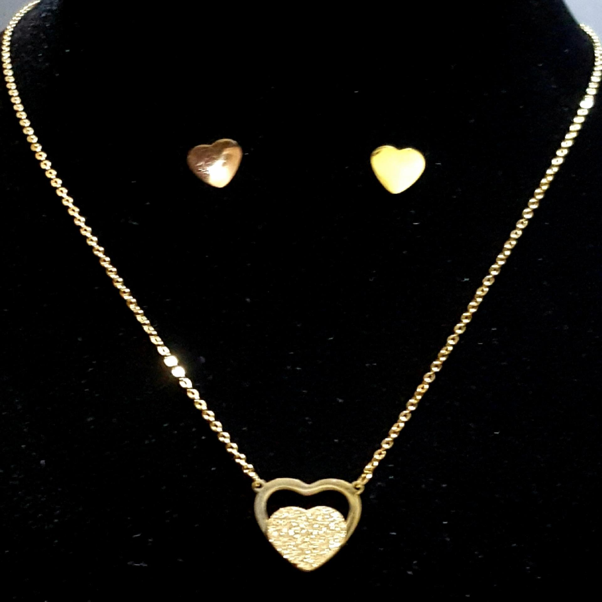 BENSHOP Stainless Gold Fashion Necklace and Earring Jewelry Set (DoubleHeart Frosting)