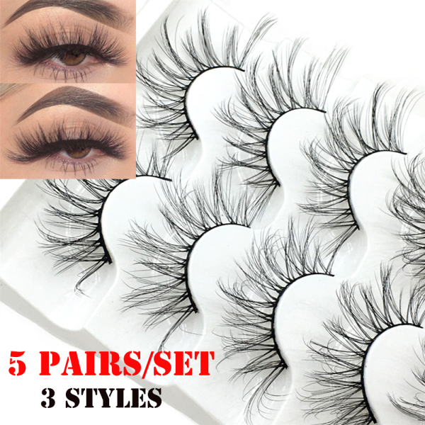xyur9c4fw SKONHED 5 cặp Phụ nữ Lông mi giả siêu mịn mượt mà 3D Faux Mink Hair nhập khẩu