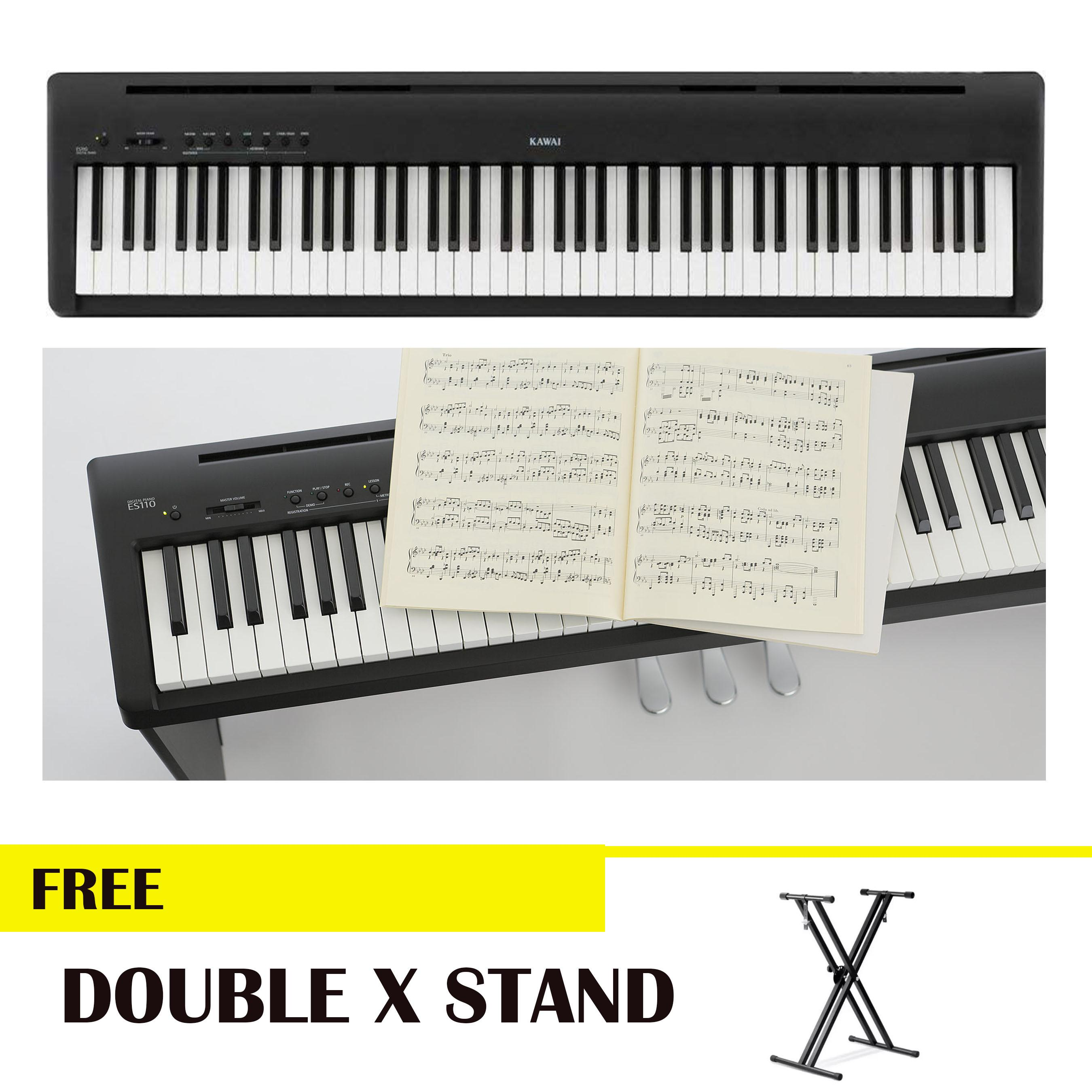 Kawai ES110 88-key Digital Piano with Speaker with Double X Stand