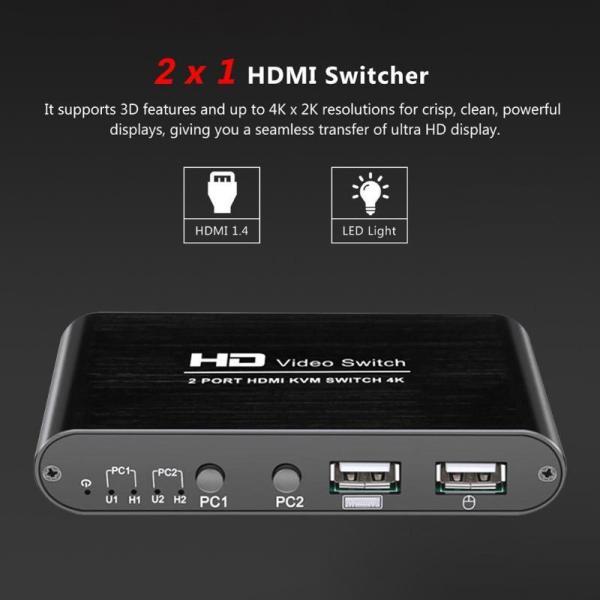 Bảng giá 2 Port Hdmi Kvm Switch 4Kx2K Ultra Hd Switcher for Dual Monitor Keyboard Mouse Phong Vũ