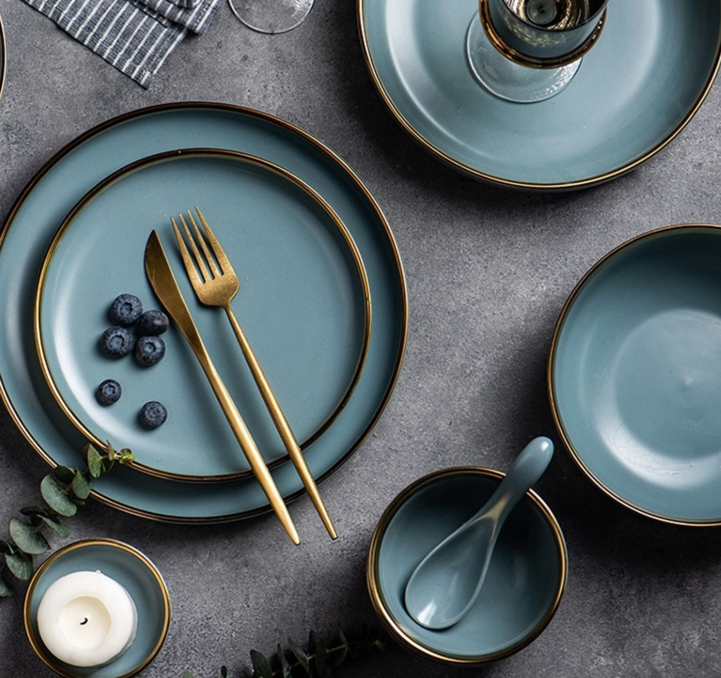 Set Blue Gold Modern Minimalist Trendy Ceramic Plate Porcelain 1 8 Inch 1 10 Inch Platter Total Of 2 Pcs Lazada Ph