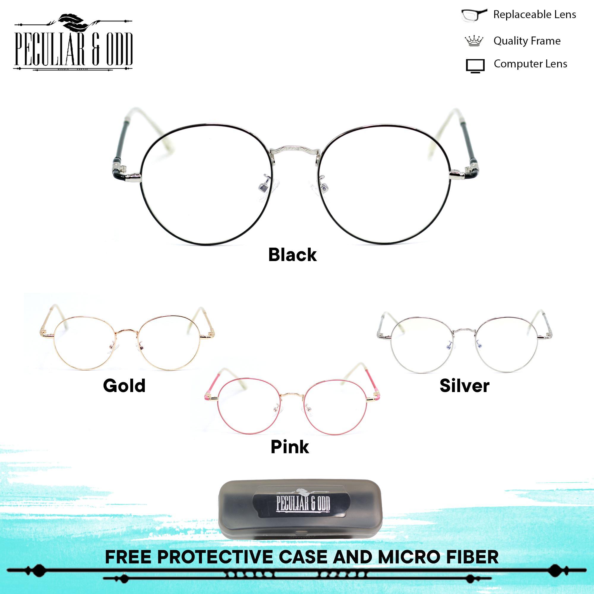 96b15338be3c Peculiar Round Eyeglasses 9007 Antiradiation Lenses in Thin Metal Frame  Lightweight Replaceable Optical Lens Unisex Eyewear