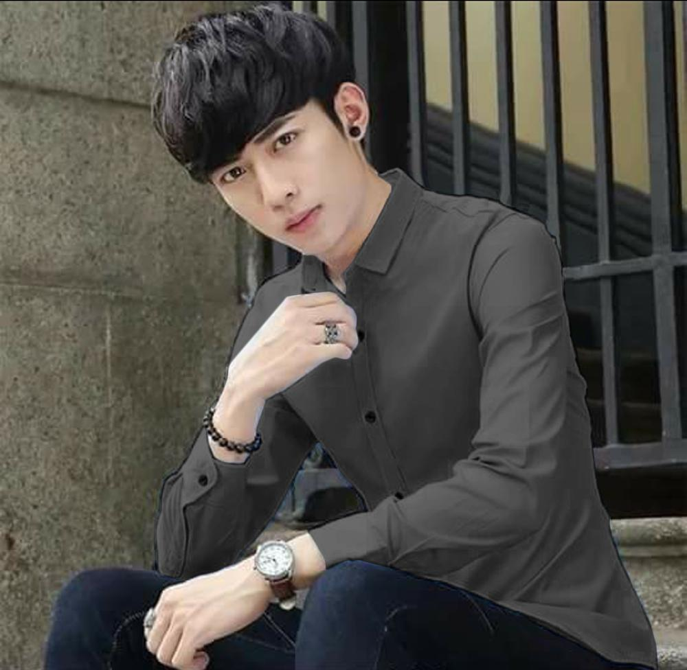 4be02dc819a Men s Korean-style Longsleeve Polo Plain Shirt Formal shirts Men Tops
