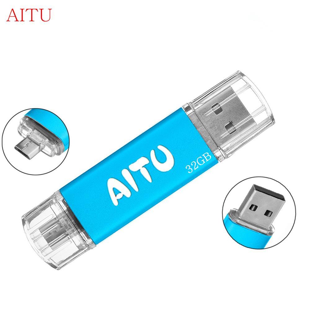 32GB OTG USB 2.0 Flash Pen Drive Dual Port Micro-USB For Smart Phone Tablet PC