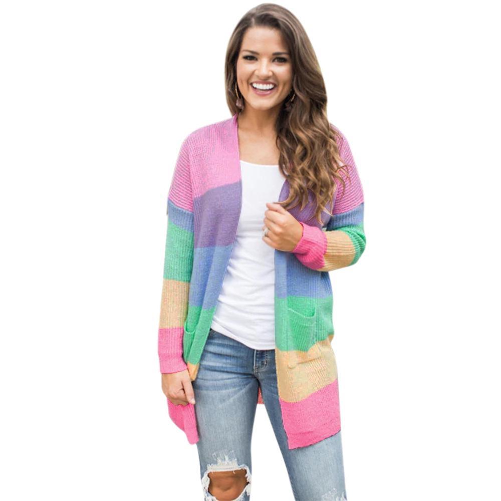 Sweaters Autumn Winter Ladies Streetwear Sweater Coat Knitted Sweater Cardigan Long Sleeve Rainbow Stripe Casual Pocket Loose Fashion T Latest Fashion Women's Clothing