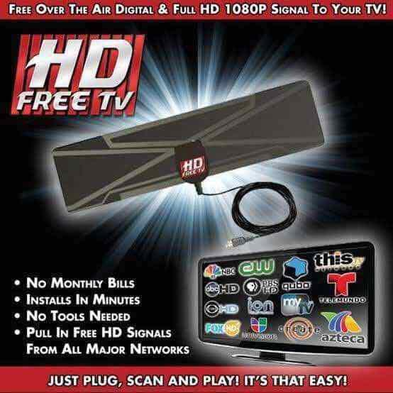 Hd Free Tv Antenna (black) By Tongs Store.