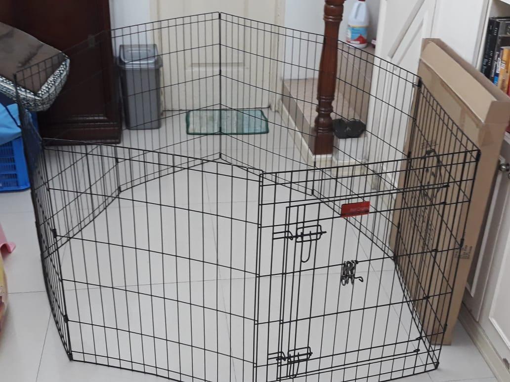 Dog Cage Dog Fence Dog Pen 8 panels 1 door PL 2 5 Resizeable