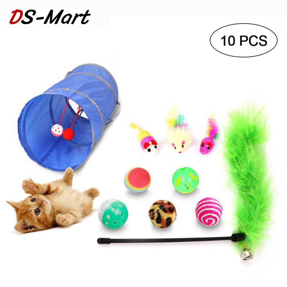 DS-Mart 10/20PCS Cat Toys Kitten Toys Variety Pack Including Cat Toy Mouse,Crinkle Balls,Foldable Cat Tunnel,Cat Fishing Pole for Cat, Puppy, Kitty image on snachetto.com