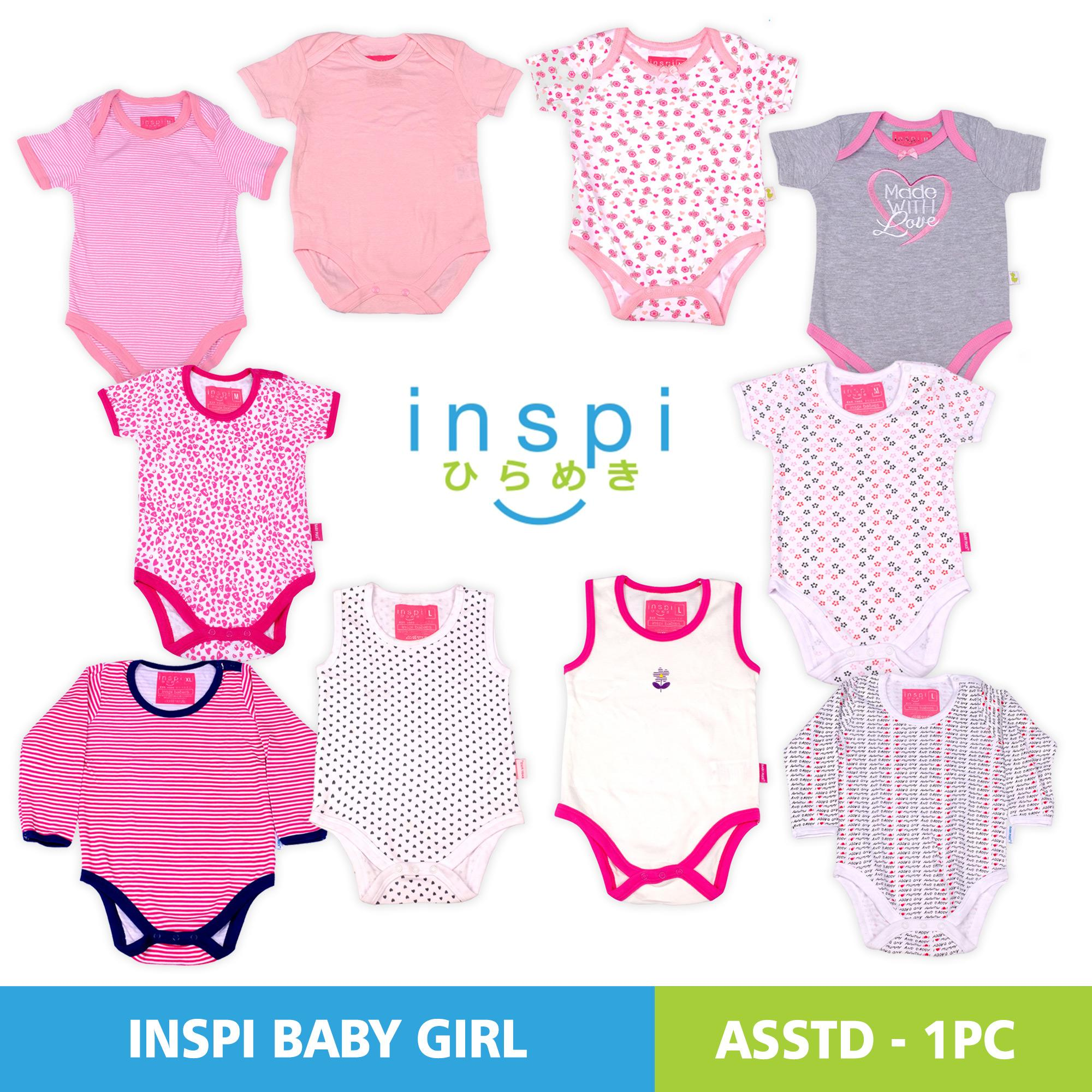 cb71a0aeed496 INSPI Babies Girls ASSORTED SINGLES 100% Cotton Onesies Newborn Infant  Quality Baby clothes One-
