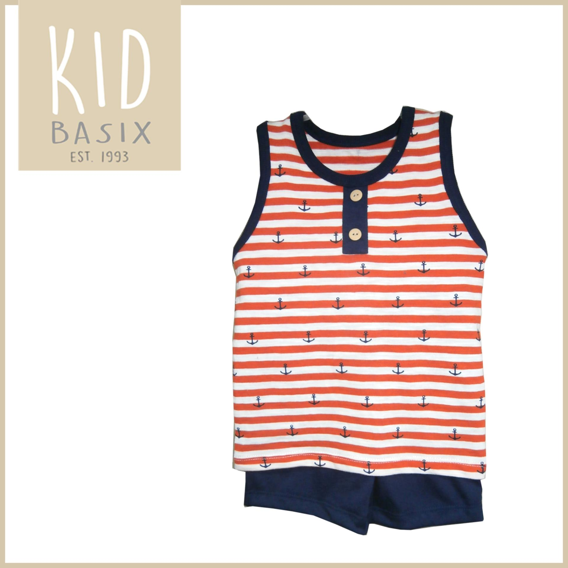 18a5b69e2 350042 items found in Clothing & Accessories. Kid Basix Anchor Orange  Stripes with Navy Shorts Boys Terno Set (Code - 4161)