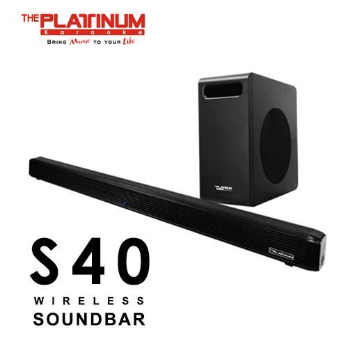 The Platinum Soundbar PTSB-220 S40 Wireless Soundbar + Wireless Sub Woofer  (Black) 2 1CH / LED Indicator / USB / Input Optical / Coaxial / Bluetooth /