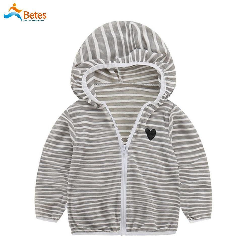 Betes Unisex Breathable Long Sleeve Stripe Sun Hooded Zipper Sunscreen Jacket Coat Outerwear By Betes.