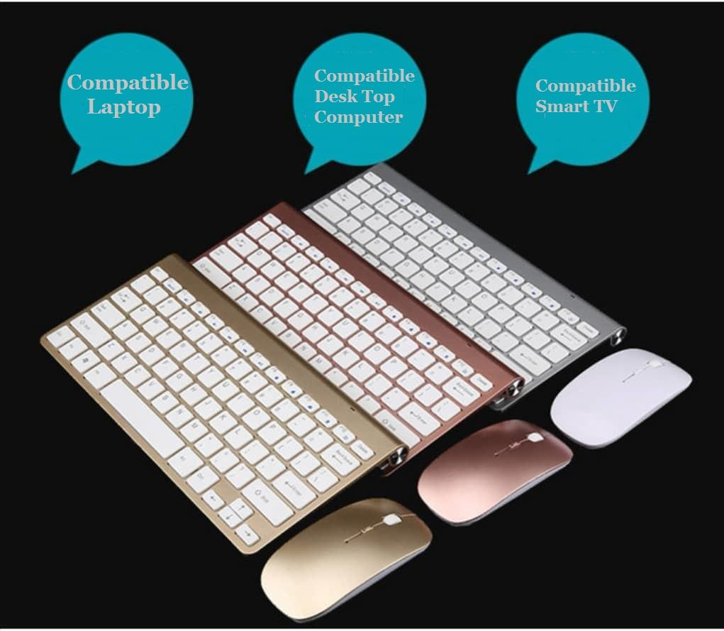 Ultra Slim Silent Wireless 2.4GHz Mini Keyboard and Mouse Set with USB Bluetooth Receiver for