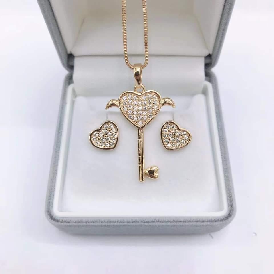 Valentines Gift Set Key Diamond Pendant Rose Gold Necklace Set For Women With Box Lazada Ph