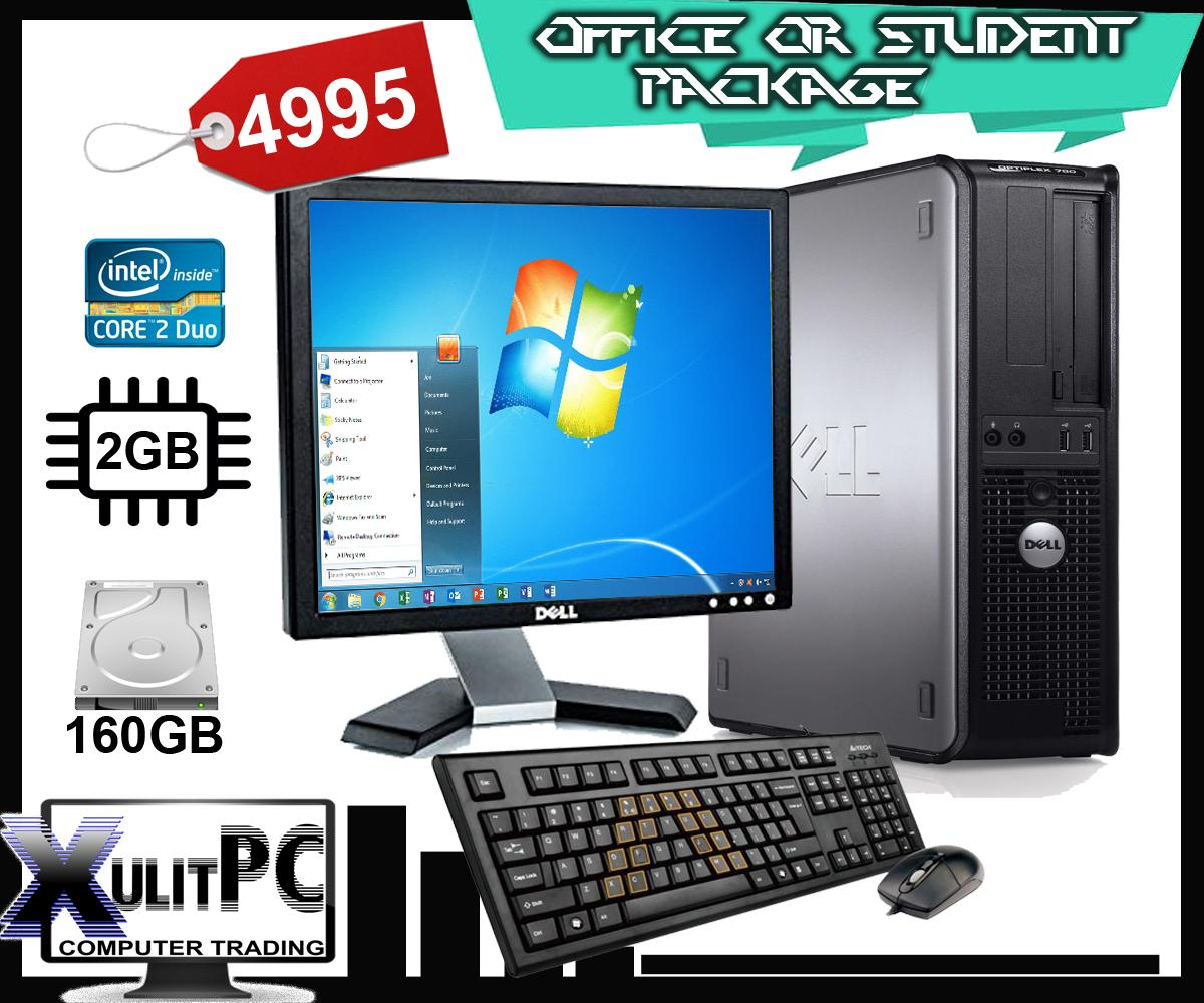 (Office Package) Computer Set Dell Optiplex 780, Dell 17 Inch Monitor 2GB  DDR3 1333, 250GB/160GB HDD Core2duo 2 9GHZ, Keyboard Mouse Complete Set