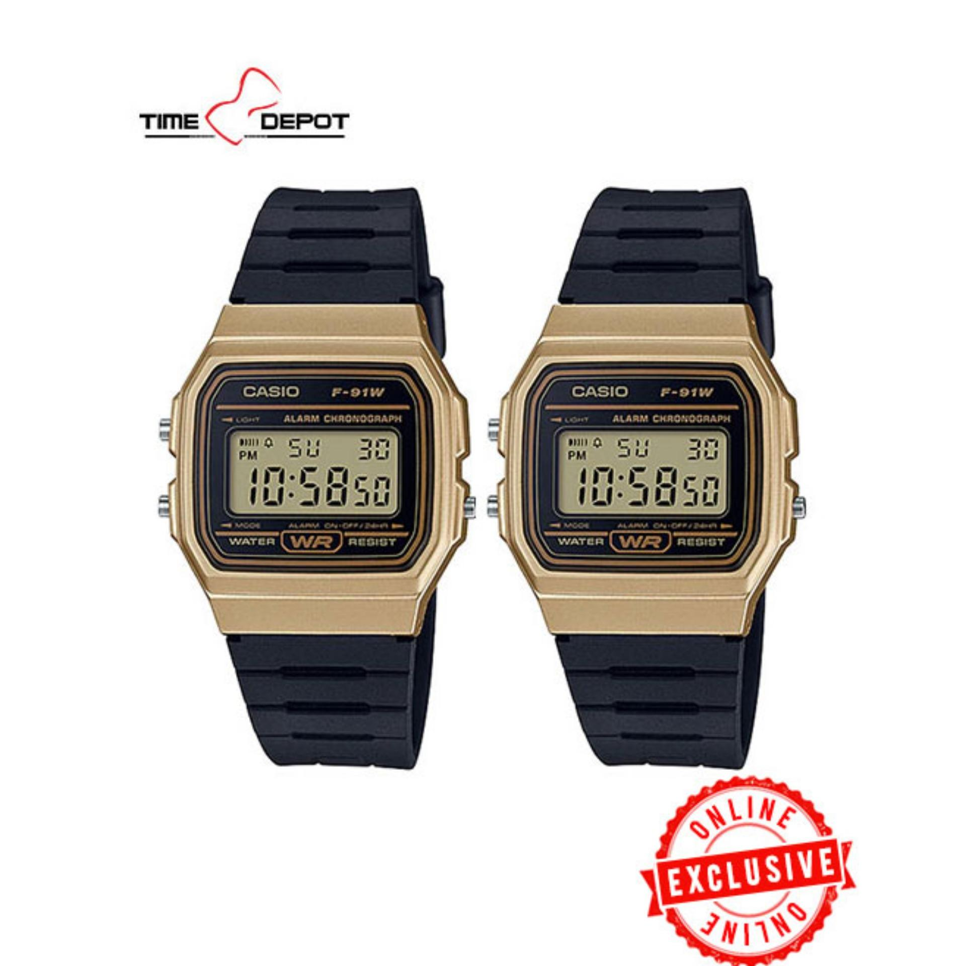 fb934c55bdc1 Casio Unisex Gold Black Resin Strap Watch (Bundle of Two) F-91WM