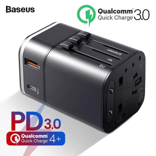 Baseus Quick Charge 4.0 3.0 Bộ sạc USB Bộ chuyển đổi du lịch đa năng USB C PD QC QC4.0 QC3.0 Sạc nhanh Ổ cắm cắm quốc tế