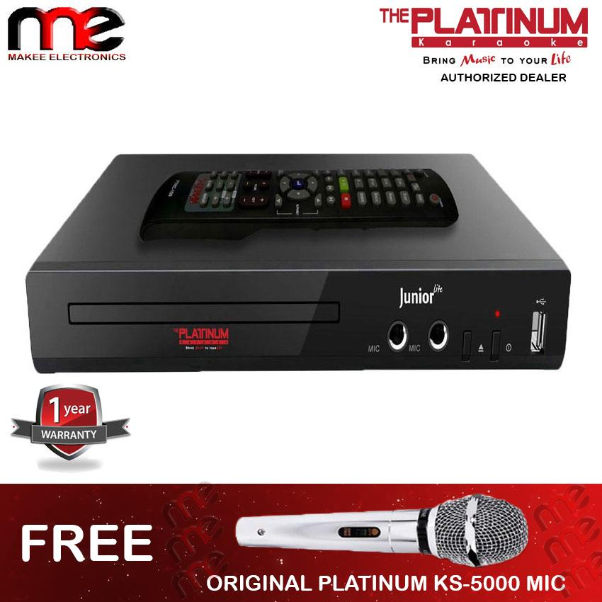 The Platinum Kool Sound Junior KS-5 DVD Karaoke Player (Black) Free  Platinum KS-5000 Wired Microphone