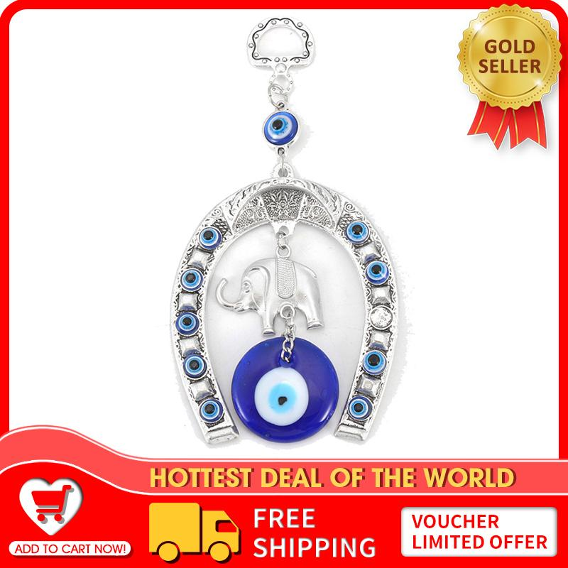 【free Shipping + Super Deal + Limited Offer】turkish Blue Evil Eye Horseshoe With Elephant And Ribbon Wall Hanging Amulet - Intl By Audew.
