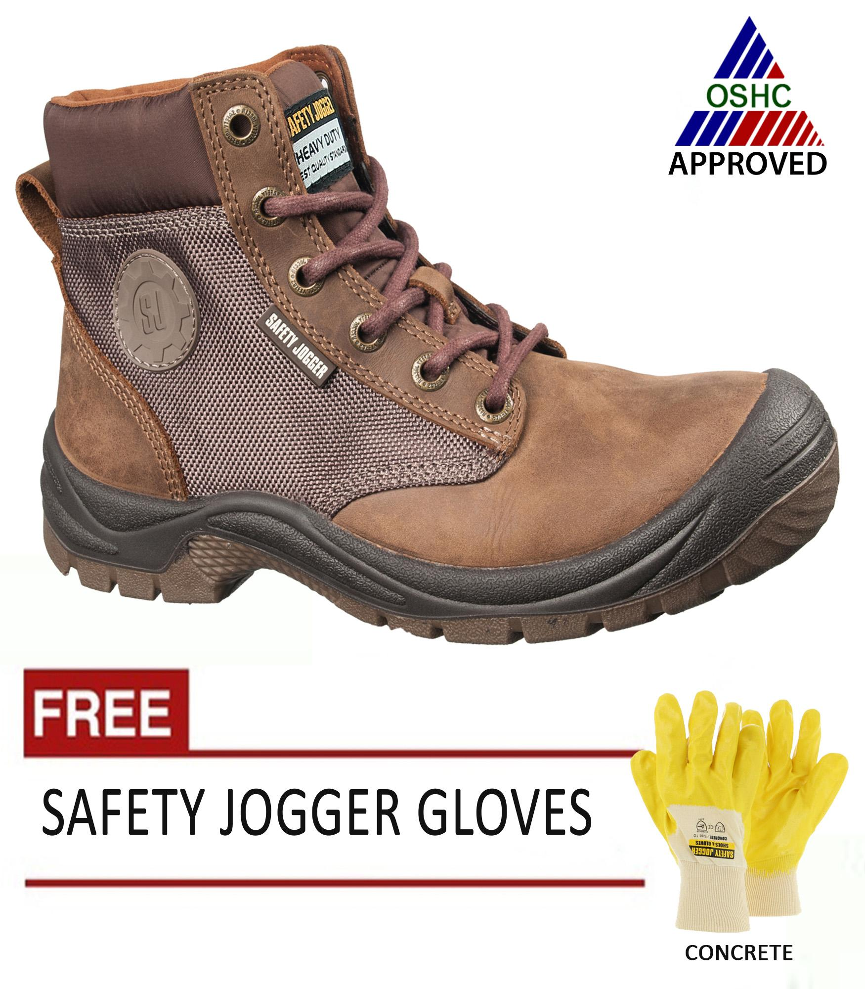 Safety Jogger Dakar Brown S3 High Cut Safety Shoes For Men Safety Footwear Steel Toe Brown With Free Safety Jogger Gloves Concrete