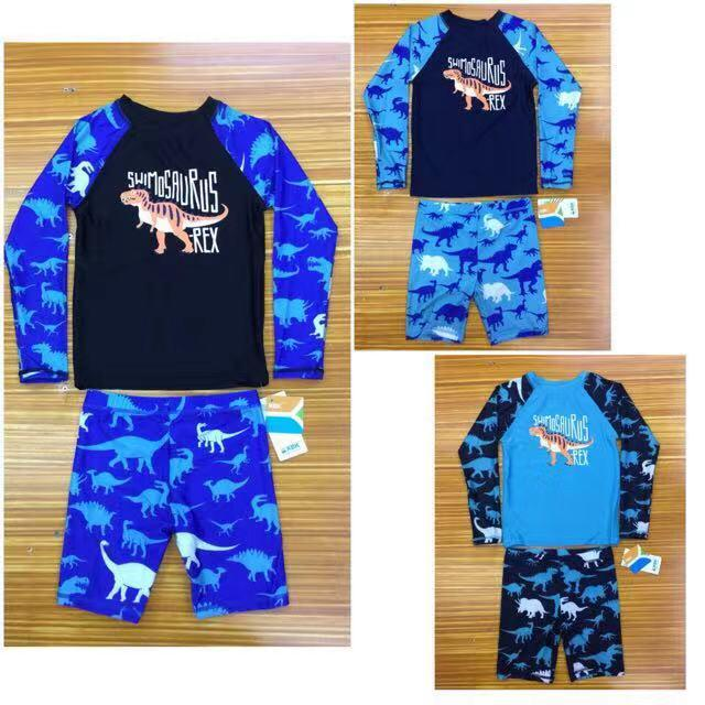 Kyb0151-12yrs Anak-Anak Little Boy Swimsuit Rashguard Summer Two Piece Kids Swimwear (cycling Shorts + Tops)-Intl By Joy Wears.