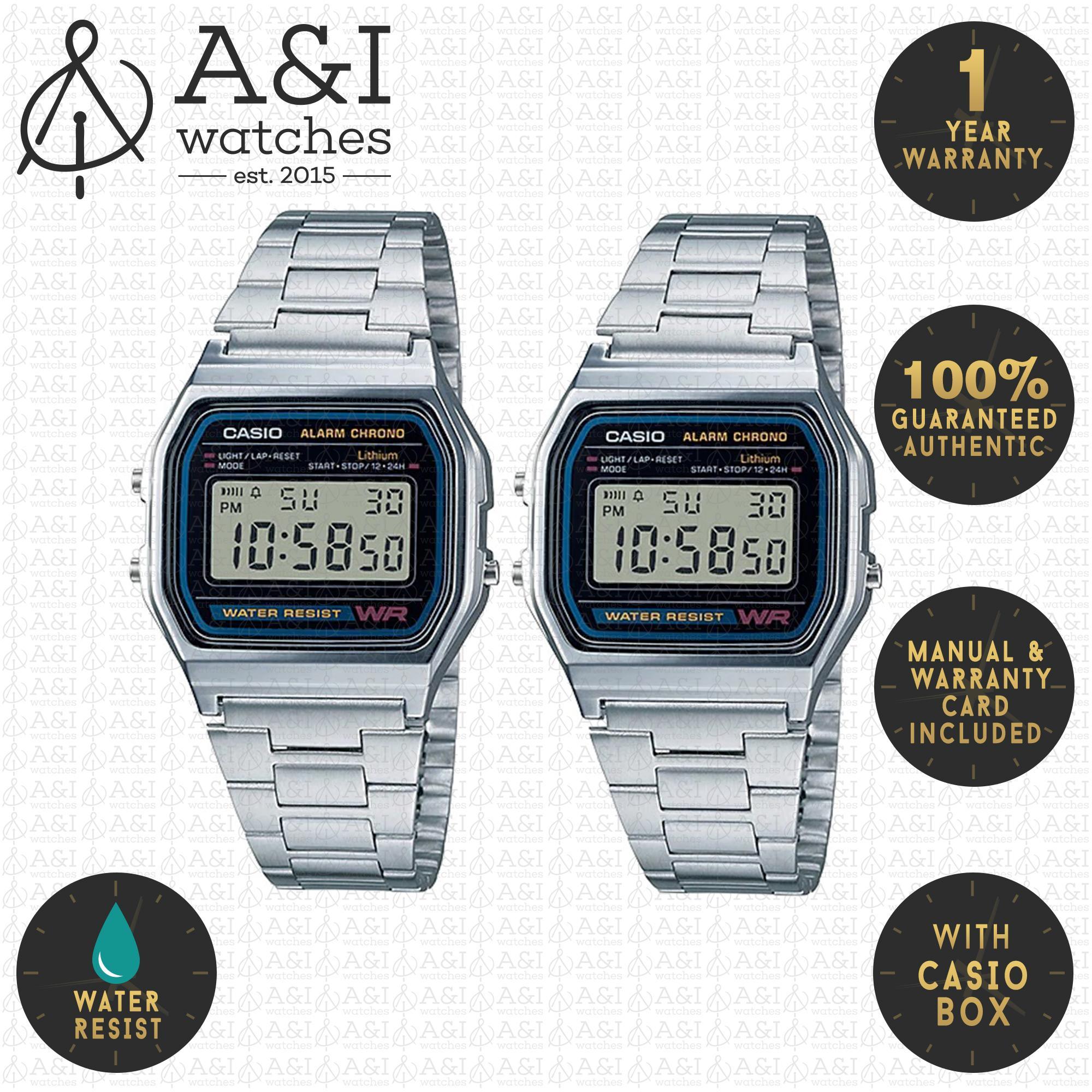 the best attitude 8eba2 02887 Casio Digital Couple Silver A158WA-1DF/A158WA-1DF Water Resist