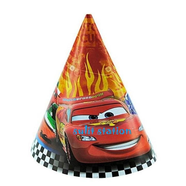 10pcs Pixar Cars Lightning Mcqueen Birthday Party Hats Favor Giveaways Needs Decor Supply Hat By Sulit_station.
