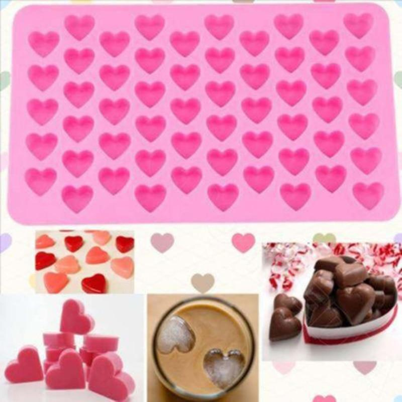 Kitchen Baking Tools 55 Holes Cute Heart Style Silicone Chocolate Mold Ice Candy Lolly Muffin Mould