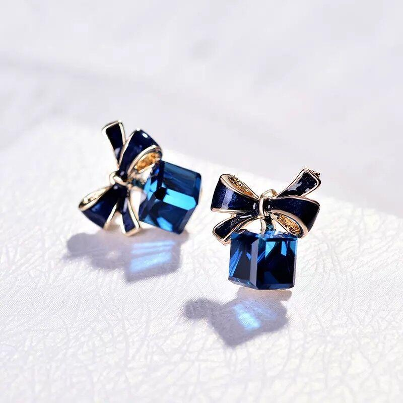 1a2b9fb4d Omiga Real Shots Song Hye Kyo Crystal Block Stud hypoallergenic earrings  for women