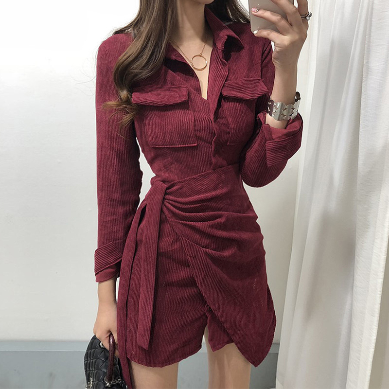 Hàn Quốc Chic Kiểu Pháp Phong Cách Retro Quần Nhung Kẻ VÁY BÚT CHÌ Buộc Dây Bó Eo Không Thường Xuyên Áo Sơ Mi Đầm Váy Ngắn Nữ