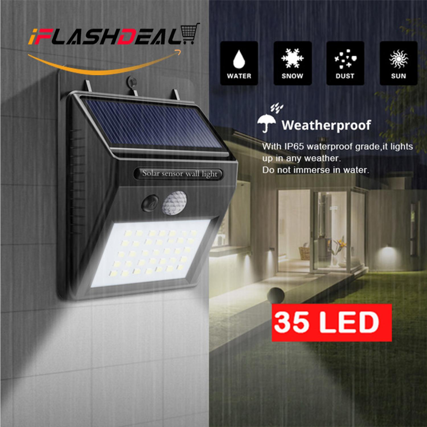 Outdoor Lighting For Sale Lights Prices Brands Review Wiring A Light Outside Iflashdeal 35 Led Solar Powered Wall Waterproof Lamp Motion Sensor Wireless Security