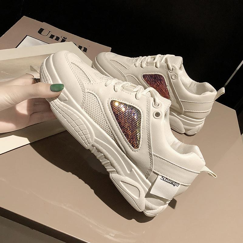 ตาข่ายระบายอากาศรองเท้าสีขาวหญิง 2019 คอลเลคชั่นฤดูใบไม่ผลิใหม่เข้าได้หลายชุดยอดนิยมรองเท้าออกกำลังกายลำลองรองเท้าผ้าใบทรงสูงหญิงอินน้ำ By Taobao Collection.