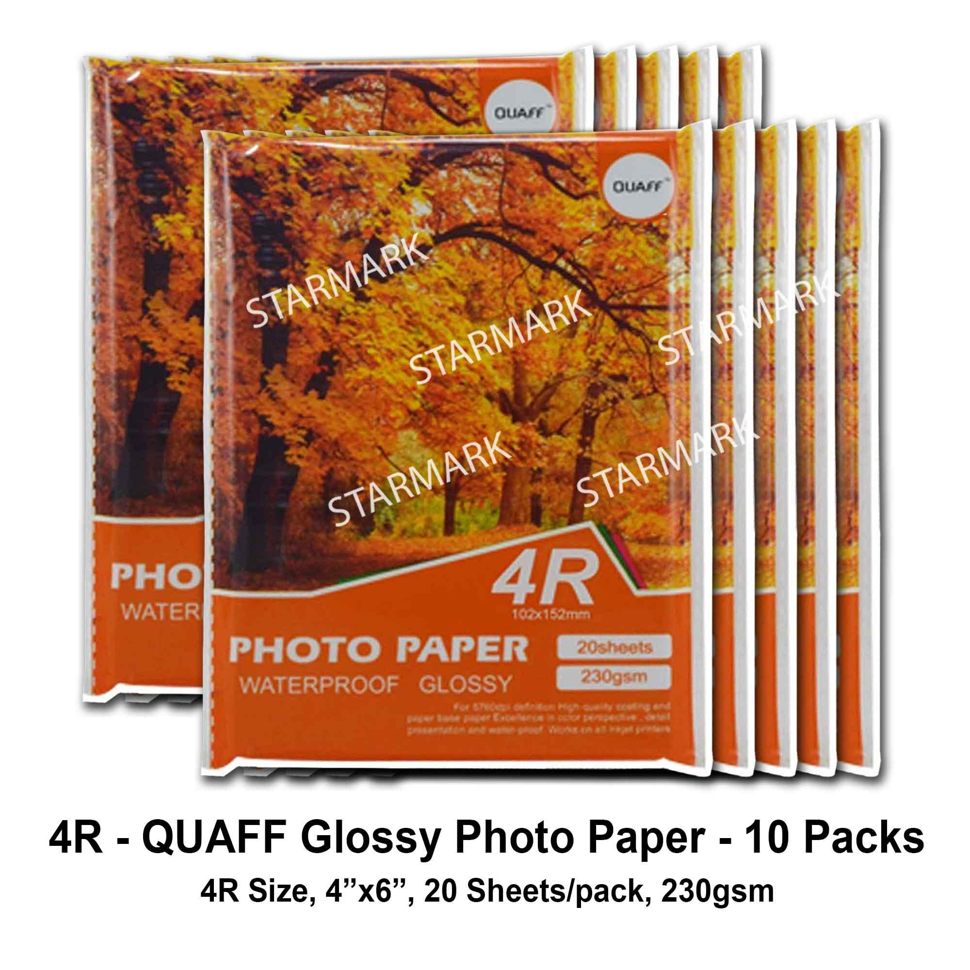 10 Packs Quaff Glossy Photo Paper Papers Photopaper Photopapers - 4r Size, 4x6 Inches, 20 Sheets / Pack, 230gsm By Starmark Enterprises.
