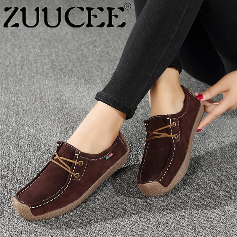 aa241f3043e77c ZUUCEE Oxfords Shoes Women Moccasins Shoes Flats Loafers Big Size Lace-up  Genuine Suede Leatheer