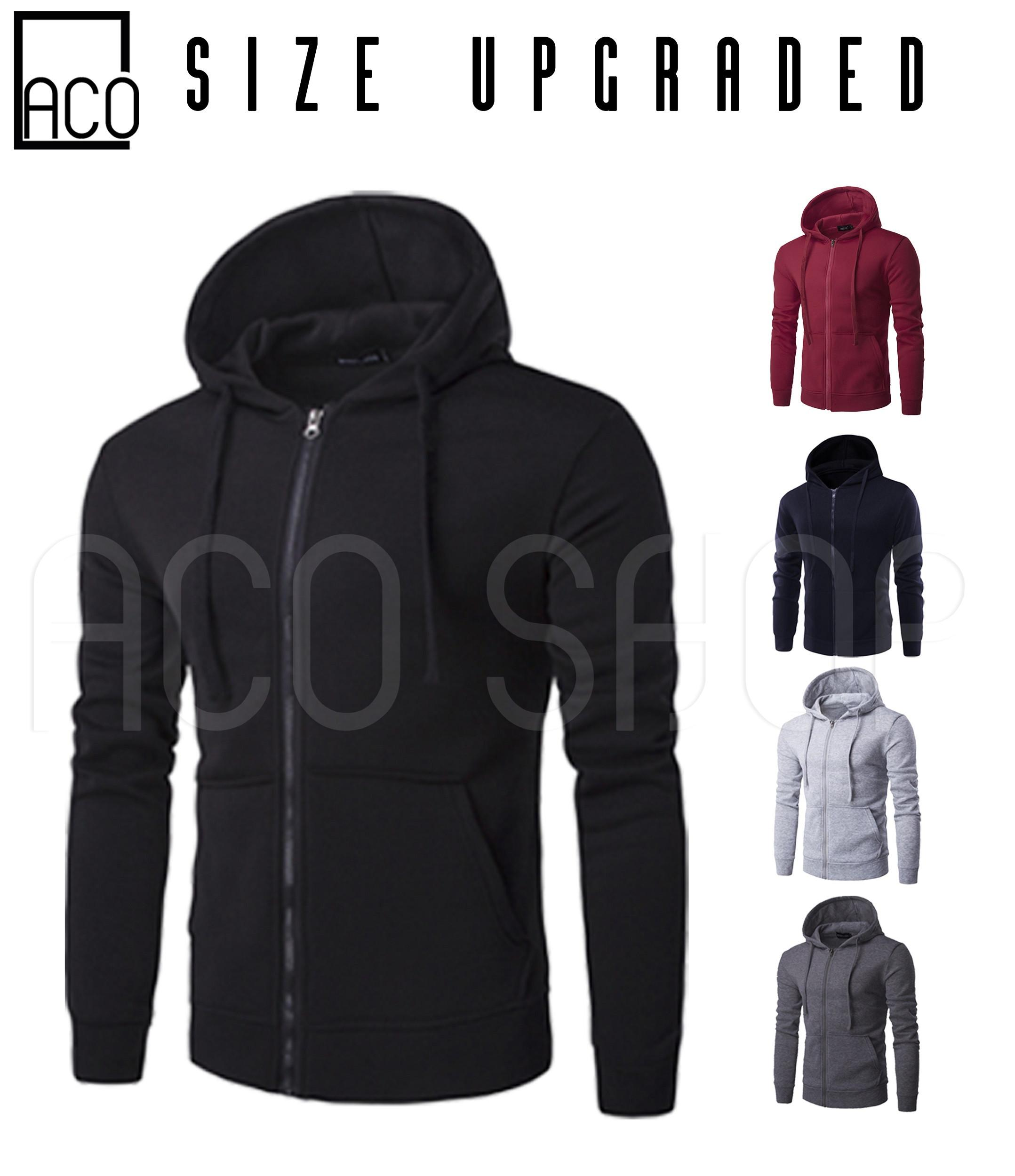 f87462347e3e ACO Fashion Mens Jacket with zipper Hoodie Jacket Plain (Size Upgraded)